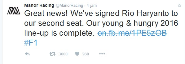 Gambar Official Twitter Manor Racing Team